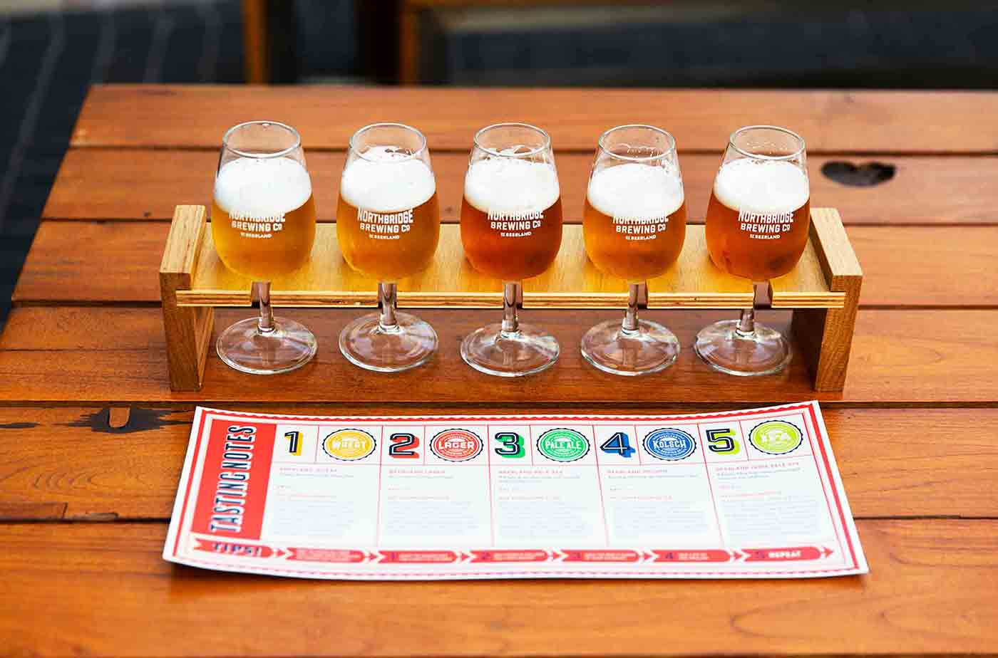 Northbridge Brewing Company Beer tasting paddle